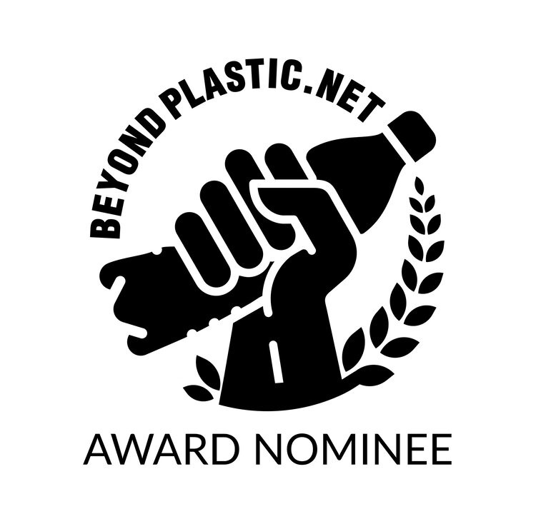 Beyond Plastic dot Net logo + Award Nominee. Logo is a hand holding up a crushed plastic bottle with laurels in a circle around.